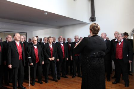 12A. The choir warm up before the charity concert  in Llangollen to raise funds for the tower appeal