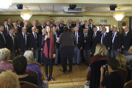 Angharad Wynne (Marketing and Communications for Decca Records) introduces the Choir at the launch of the Voices of the Valley - Ultimate Collection and Grandad