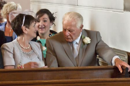 22.Betty and Bob Evans (founder member of the Choir) at Rhosymedre Church. Sophie the Bride is Betty's Granddaughter.