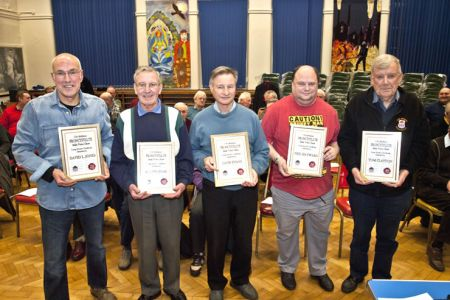 04.Long Service Awards were presented to Dave (20 years) Merfyn (60 years) Dave (40 years), Neil (10 years) and Tom (40 years)