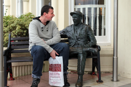 Matthew enjoying a conversation with Norman Wisdom