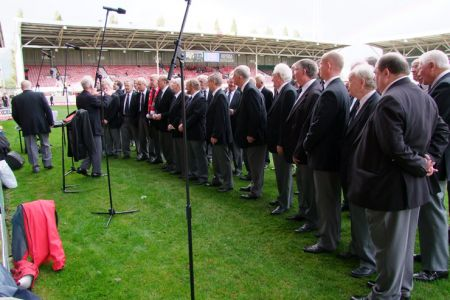 82.Sound check on the Wrexham FC Pitch prior to their 150th Year Anniversary game against Grimsby FC - 11 October