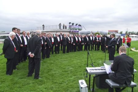 39.Choir line up ready to perform at the Drumhead Service at Chester Race Course for the Royal Welsh Medals Parade