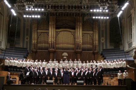 Performing Gwahoddiad with the Donaghadee MVC in the Ulster Hall