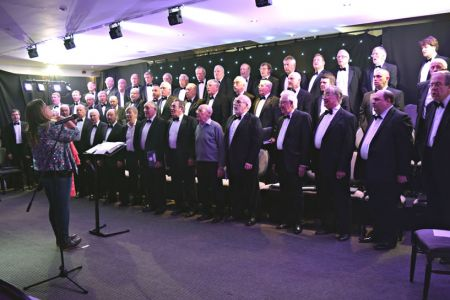 89.The Choir warm up in the Ternhill Hall Hotel - the first of our Christmas season of concerts - 3rd December.