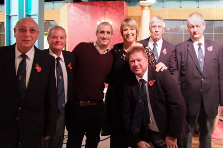 Denver, Ted, Daniel, Jacko, Barry and Steve with Fern Britton on the Good Morning set.
