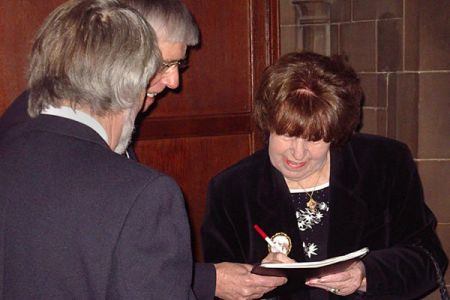 64.Kathy Staff (Nora Batty from Last of the Summer Wine) signing autographs for Choristers