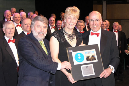 Roy Noble presenting the Encore Platinum Disk onstage at St Davids Hall - 6th April