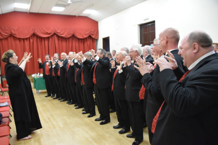 Pre-concert exercises at St Neot's Village Hall - 28th April.
