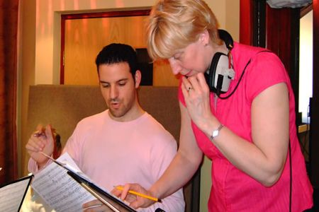 Jon and Ann discussing the finer points of the score