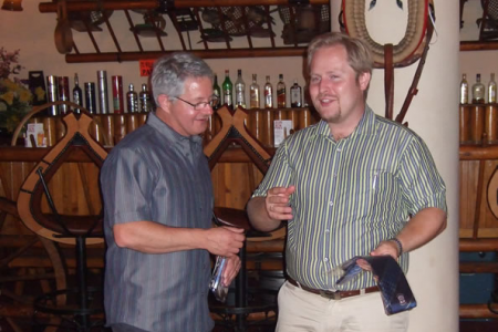 Steve Cox presenting Maciej, our second tour guide, with a Choir Tie and CD in appreciation of his help during the week.