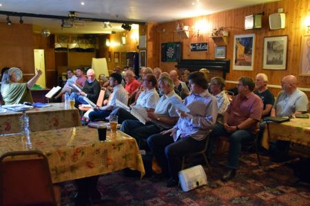 71.The Choir probationers together with recent members continue with rehearsals on Mondays at the Telford Inn