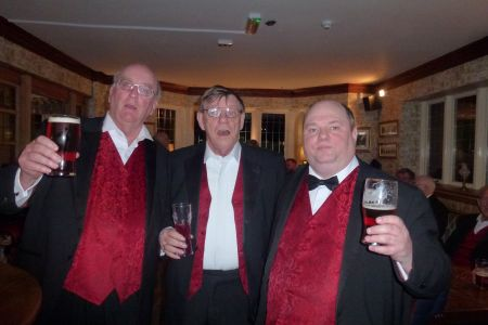 05e. The boys enjoyed a great afterglow in the pub next door, our stand in compere Howard Bourne enjoys a well earned pint after his turn entertaining the audience