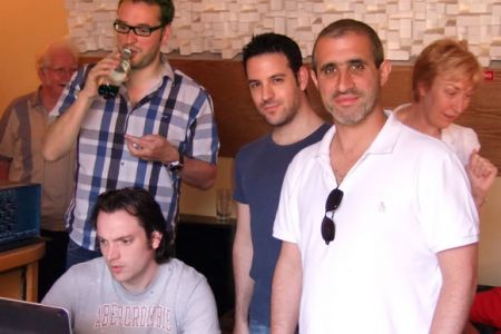 26.Tom Lewis, A&R coordinator for Universal Classics & Jazz, Jon Cohen, Arranger and Producer, Daniel Glatman, the Choir's Commercial Manager and Al Unsworth (seated), Recording Engineer, at the Forge Studio in Oswestry - June 2008 - work starts on the 3r