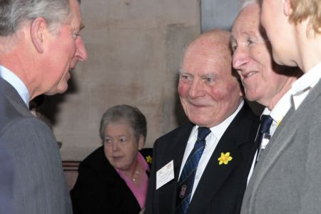 13.Emrys Roberts, Dennis Williams and Ann are presented to Prince Charles in Seion Chapel  during his visit to Froncysyllte - 2nd March