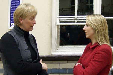 Ann chatting with Sky News interviewer Emma Birchley at Choir Practice on the 12th of November