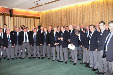 The Choir line up to perform for the audience at the Bryn Howel Hotel, Llangollen.  Encore Launch, 19th November.