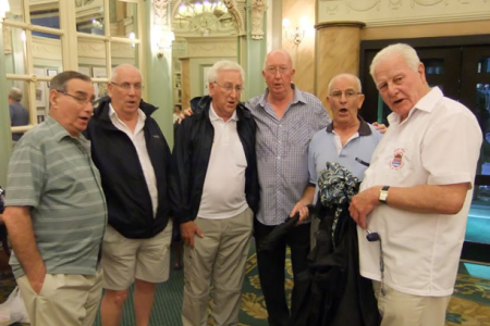 The Lads giving a good rendition of Goodbye Irene in the Hotel Lobby - 27th August
