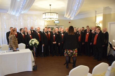 82. 28/12/19 The choir prepare to entertain the guests at the Wedding of Jon Haddy's Granddaughter