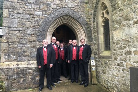 10B The choir arrive at St Pedrog church for the wedding of Joanne and Steven 27.04.19