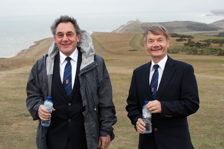 John Hopkins and Allan Smith at the crack of dawn on Beachy Head