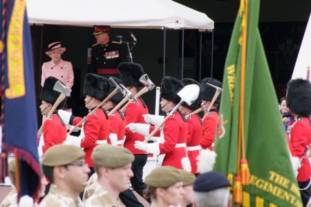 41.Her Majesty Queen Elizabeth II at the march past following the presentation of Afghanistan Medals to the Royal Welsh.