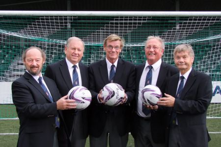 81.Geoff, Cyril, Steve, Paul and Allan at a photoshoot for the Shropshire Star in The New Saints FC ground at Oswestry where the Choir will entertain at the match on the 1st of November.