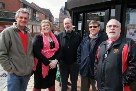 33.Wyn, Leigh, Dave, Alun and Keith in Queen's Square Wrexham for the Wynne Evans BBC Radio Wales Weekday Show - 22nd April