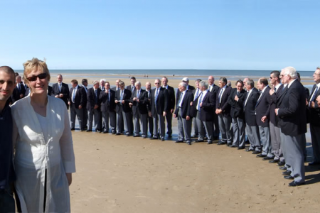 Daniel Glatman, the Choir's Manager with Ann Atkinson and the Choir, filming an advertisement for the new CD at Talacre Beach in North Wales- what a glorious day !