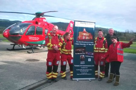 With the Wales air ambulance crew at Welshpool airport
