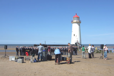 On location at Talacre Beach, North Wales, 31st July