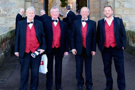 John, Sam, Paul and James at Chirk castle for a concert in the  castle chapel 23rd December
