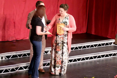 Collecting the prize for second place