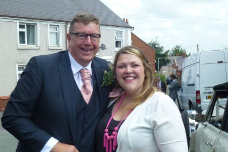 14D. Father of the Groom and chorister Paul Wycherley with the Fron choirs musical director Leigh Mason.