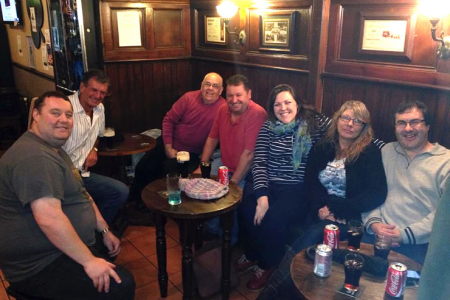 image.pngHowie, Wynn, John, Rob, Leigh, Lis and Jez relaxing with a well earned drink in the Queen's Head