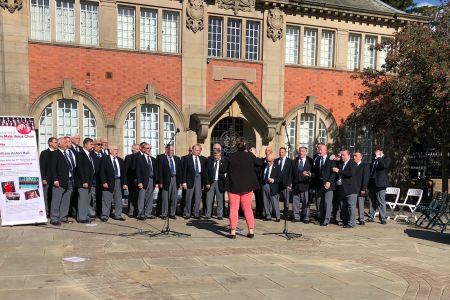 51.Performing at Wrexham's singing streets