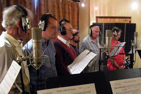 Recordings start in the Forge Studio with the second tenors listening to White Cliffs of Dover