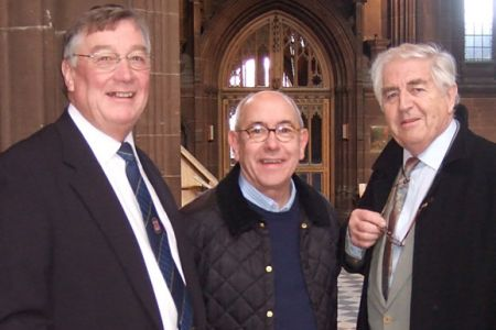 63.Sam Hughes with Malcolm Hebden (Norris Cole from Coronation St) and Peter Baldwin (formerly Derek Wilton from Coronation St). Concert in aid of Help the Aged in Manchester Cathedral 15th December