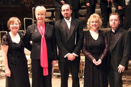 61.Alwena and Ann with Adriano Graziano (Tenor) Annette Bryn Parri (Pianist) and Dylan Cernyw (Harpist) Concert in aid of Nightingale House 14th December