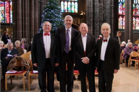84.Paul, Cyril and Owen with Arthur Bostrom (Officer Crabtree in  Allo Allo) who delivered a Christmas reading during the Concert