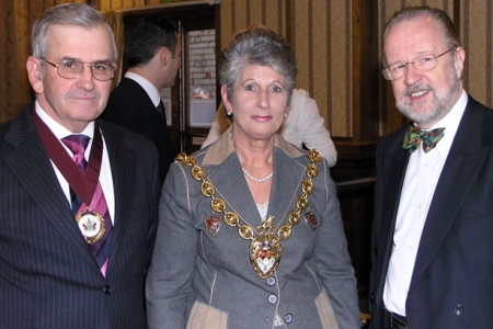 The Mayor of Wrexham, Cllr Joan Lowe accompained by her consort Mr Tony Lowe and Martyn Jones MP at the Launch of Encore, 19th November
