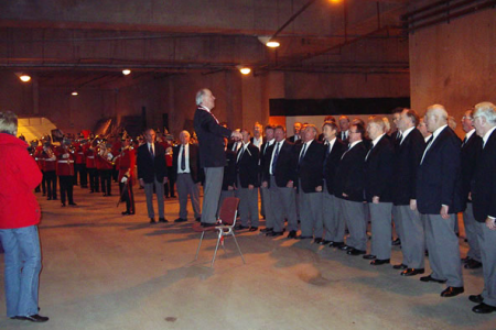 Rehearsal with the band in the Stadium undercroft