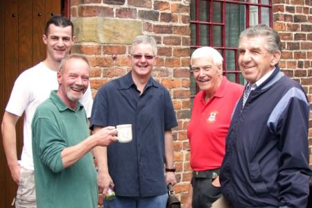 Steve Thomas, John Evans, Steve Cox, Keith Preston and Henry Edge enjoying a break at the Studio