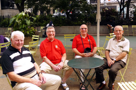 Bob, Sam, Martin and Len outside Macey's Department Store - 24th August