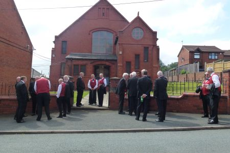 14B. The choir arrive at the wedding of Chris and Bethan Wycherley at Bethel chapel Ponciau