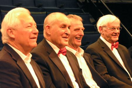 75.Dulyn Moss, David Ryan, Tudor Evans and Rolly Jones enjoying the rehearsal at the New Vic