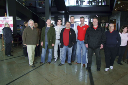 Jon, Jon, Gareth, Rob, Paul, Wyn, Howie and John in the foyer of the Titanic Experience