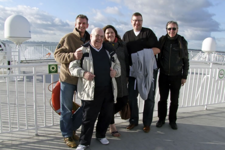 Wyn, John, Leigh, Paul and Jeff on the afterdeck of the  Jonathan Swift outbound from Dublin