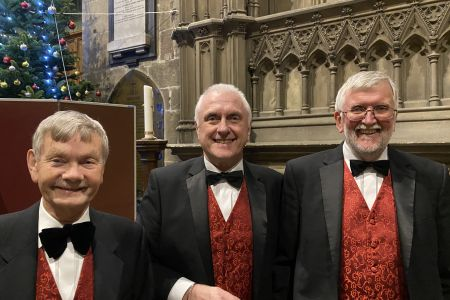 20b. Allan, Gordon and David are all smiles at the thought of joining the Ifton colliery band for the spirit of Christmas concert at St Giles church Wrexham