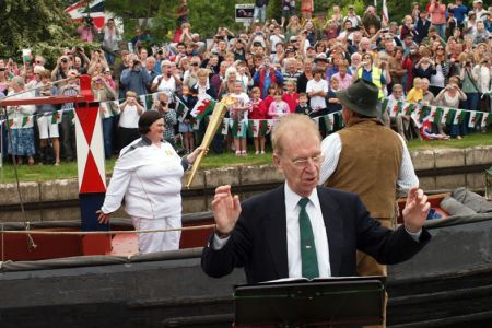 34.The Torch arrives by Canal Barge to We'll Keep a Welcome Olympic Torch Ceremony at Pontysyllte - 30th May